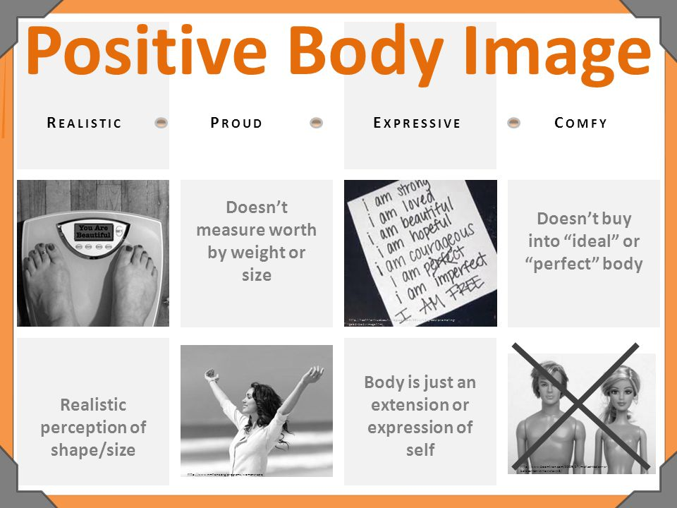 Body is just an extension or expression of self Positive Body Image Doesn't measure worth by weight or size Doesn't buy into ideal or perfect body Realistic perception of shape/size R EALISTIC P ROUD E XPRESSIVE C OMFY http://www.nmhcinc.org/programs/womens-care/ http://healthfortruebeauty.blogspot.com/2011/12/greeks-promoting- good-body-image.html http://www.boomtron.com/2009/07/michael-keaton-is- barbies-ken-in-toy-story-3/