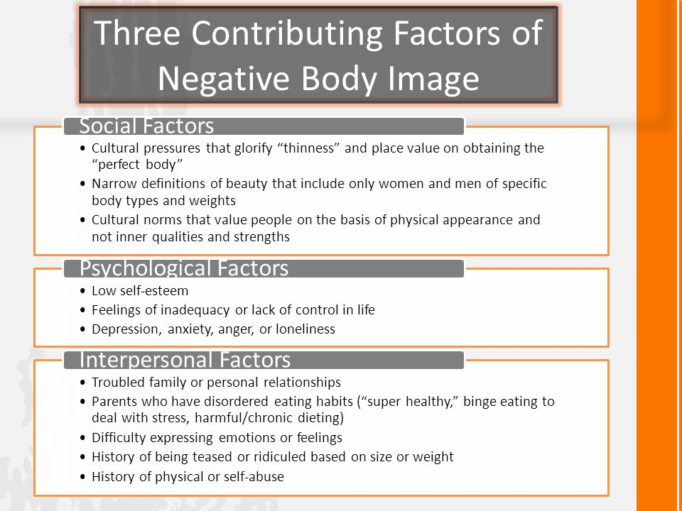 Three Contributing Factors of Negative Body Image Cultural pressures that glorify thinness and place value on obtaining the perfect body Narrow definitions of beauty that include only women and men of specific body types and weights Cultural norms that value people on the basis of physical appearance and not inner qualities and strengths Social Factors Low self-esteem Feelings of inadequacy or lack of control in life Depression, anxiety, anger, or loneliness Psychological Factors Troubled family or personal relationships Parents who have disordered eating habits ( super healthy, binge eating to deal with stress, harmful/chronic dieting) Difficulty expressing emotions or feelings History of being teased or ridiculed based on size or weight History of physical or self-abuse Interpersonal Factors