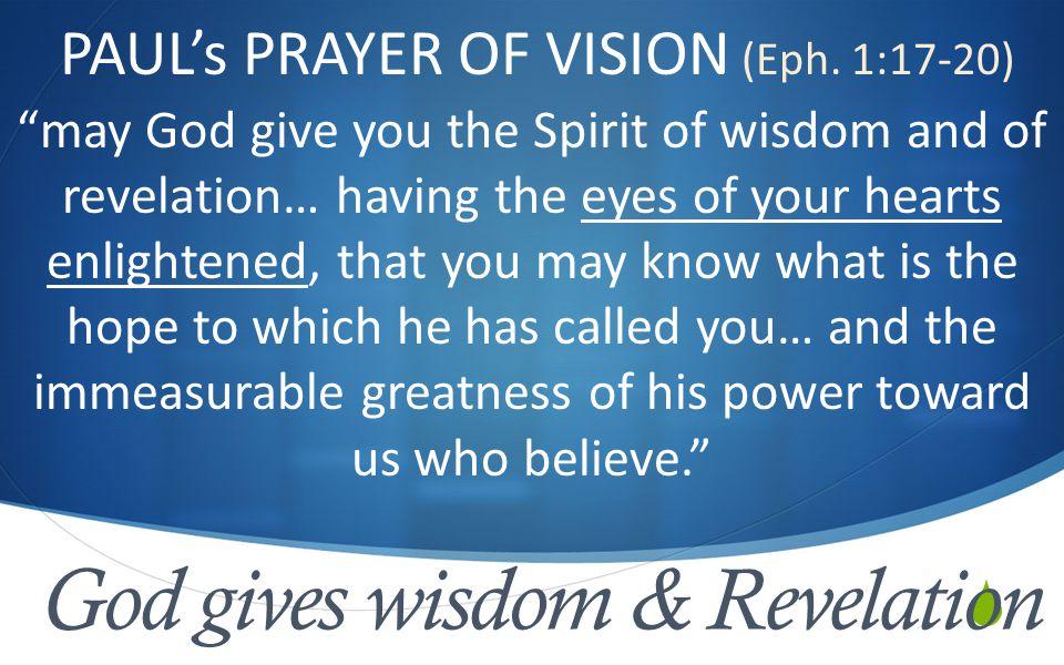  God gives wisdom & Revelation PAUL's PRAYER OF VISION (Eph.