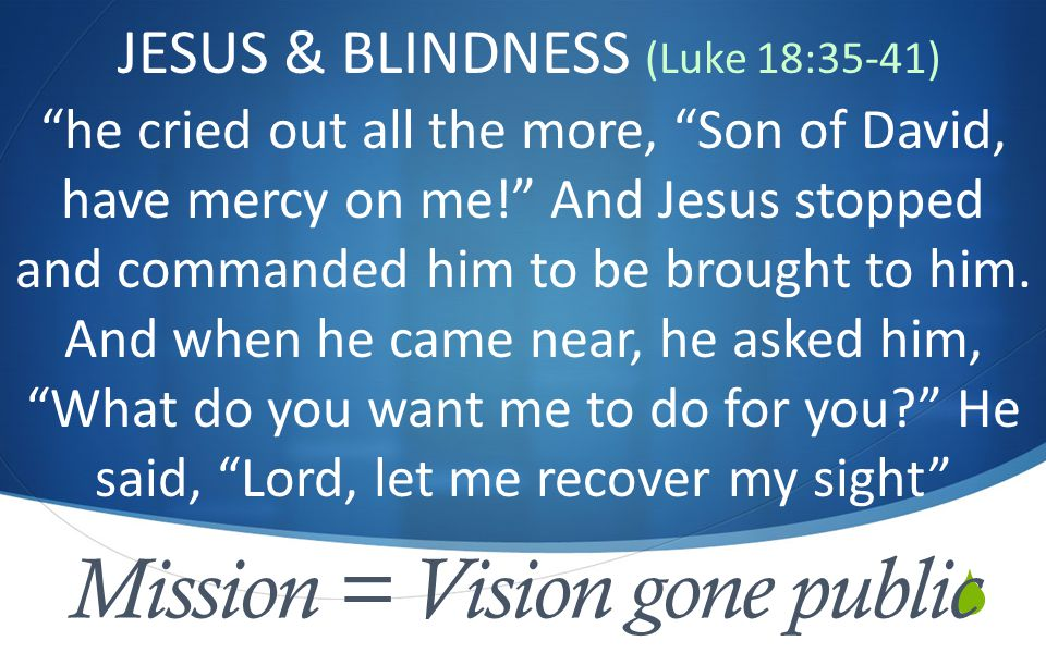  Mission = Vision gone public JESUS & BLINDNESS (Luke 18:35-41) he cried out all the more, Son of David, have mercy on me! And Jesus stopped and commanded him to be brought to him.