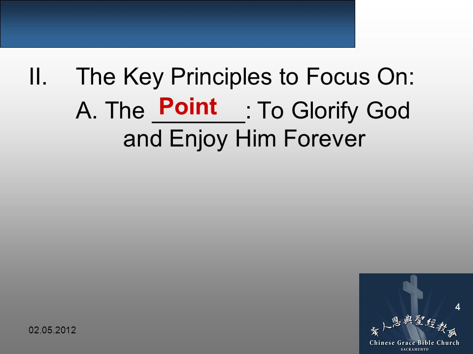 02.05.2012 4 II.The Key Principles to Focus On: A.