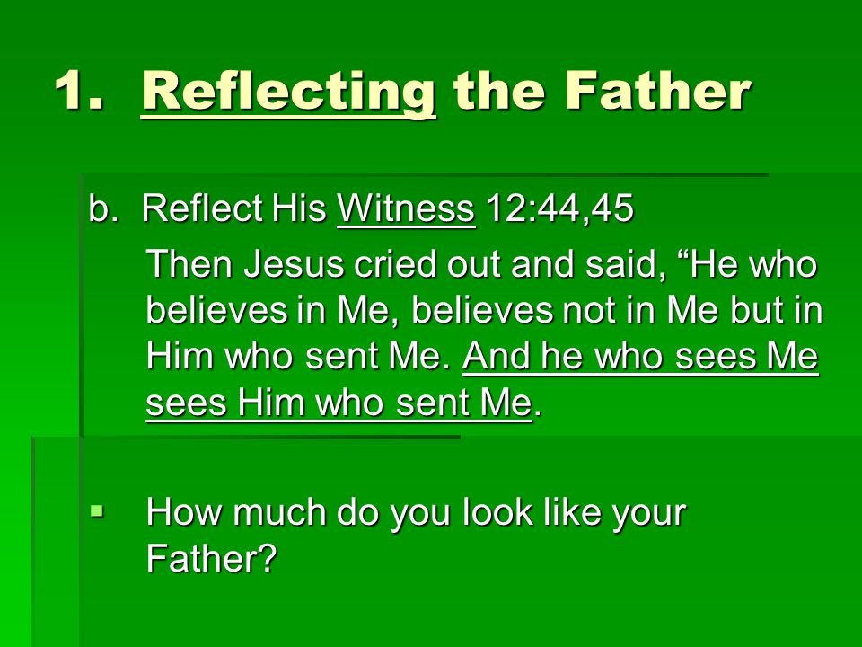 1. Reflecting the Father b.