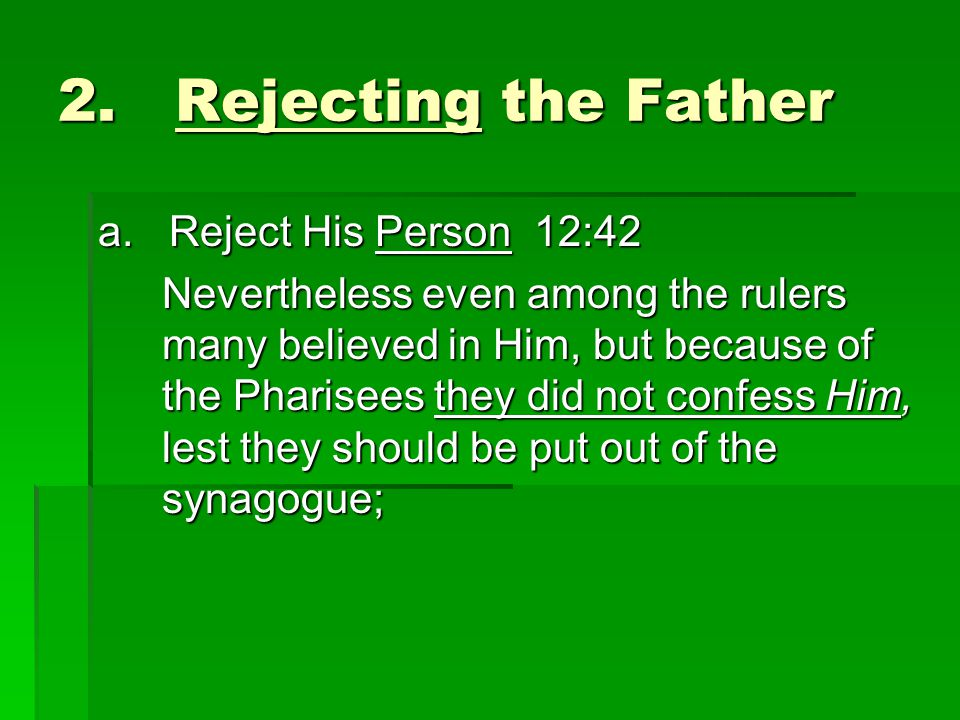 2. Rejecting the Father a.