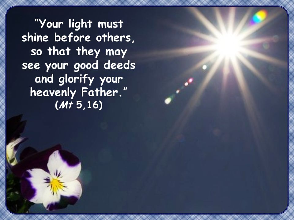 Your light must shine before others, so that they may see your good deeds and glorify your heavenly Father. (Mt 5,16)