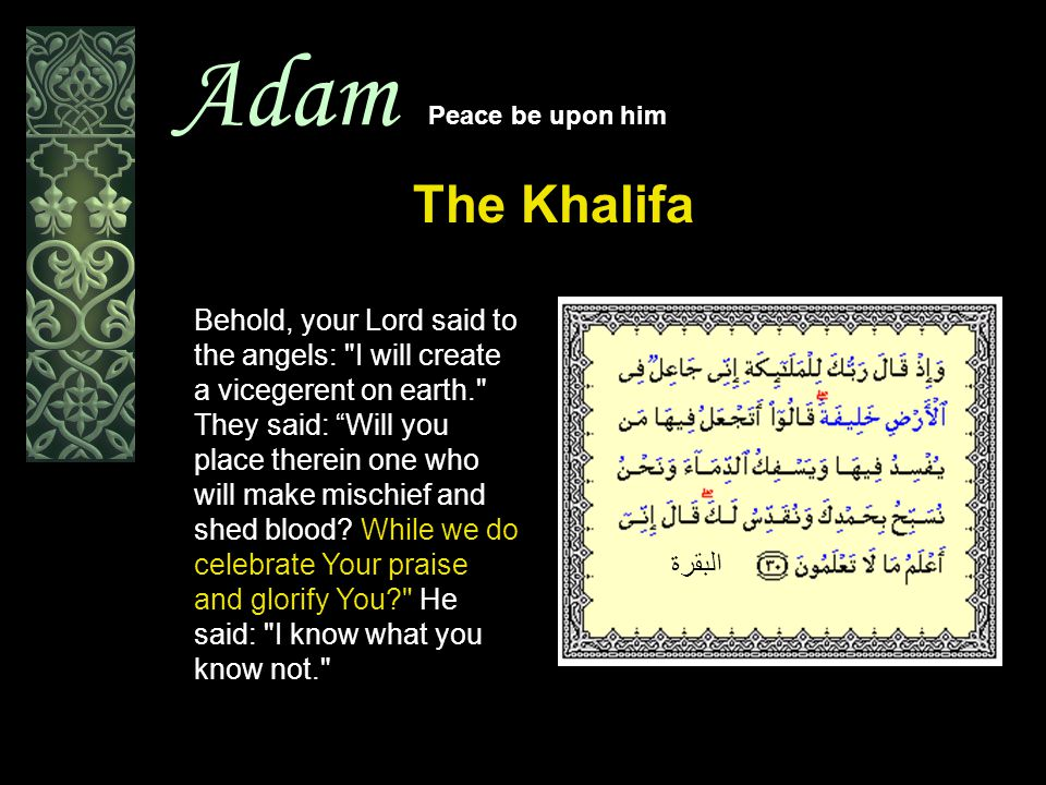 Adam Peace be upon him The Creation And He taught Adam the names of all things; then He placed them before the Angels, and said: Tell Me the names of these if you are indeed right. البقرة