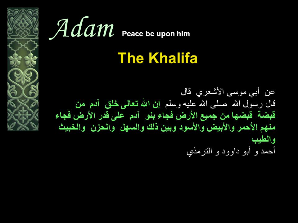 Adam Peace be upon him The Khalifa الروم الأنبياء And among His Signs is this, that He created you from dust (soil of the earth), and then behold you are human beings scattered.