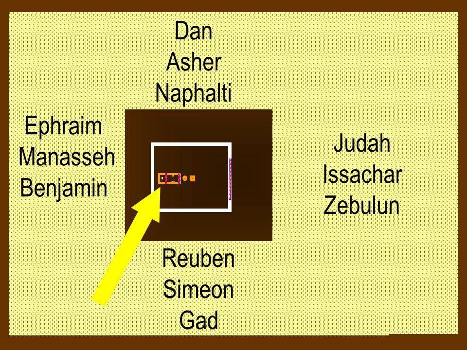 Judah Issachar Zebulun Dan Asher Naphalti Ephraim Manasseh Benjamin Reuben Simeon Gad