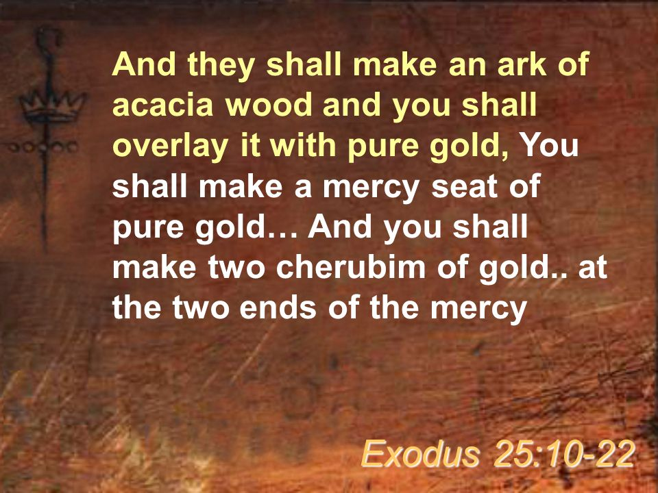 And they shall make an ark of acacia wood and you shall overlay it with pure gold, You shall make a mercy seat of pure gold… And you shall make two cherubim of gold..