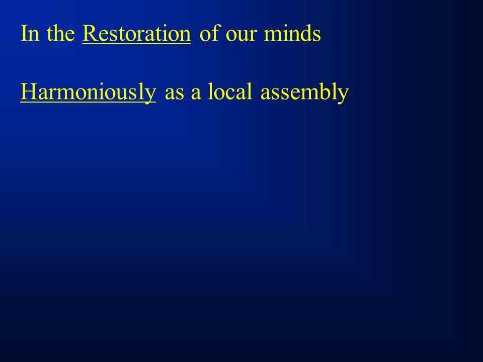Harmoniously as a local assembly