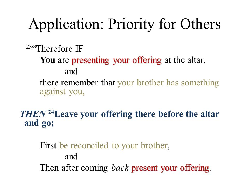 "Application: Priority for Others 23 ""Therefore IF presenting your offering You are presenting your offering at the altar, and there remember that your"