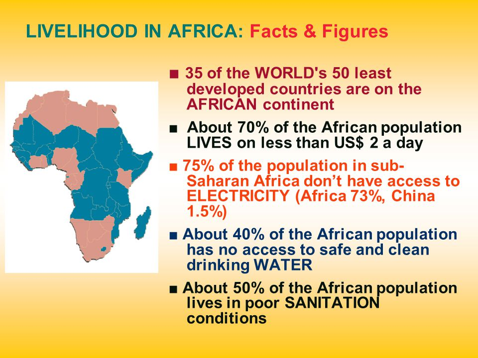 LIVELIHOOD IN AFRICA: Facts & Figures ■ 35 of the WORLD s 50 least developed countries are on the AFRICAN continent ■ About 70% of the African population LIVES on less than US$ 2 a day ■ 75% of the population in sub- Saharan Africa don't have access to ELECTRICITY (Africa 73%, China 1.5%) ■ About 40% of the African population has no access to safe and clean drinking WATER ■ About 50% of the African population lives in poor SANITATION conditions