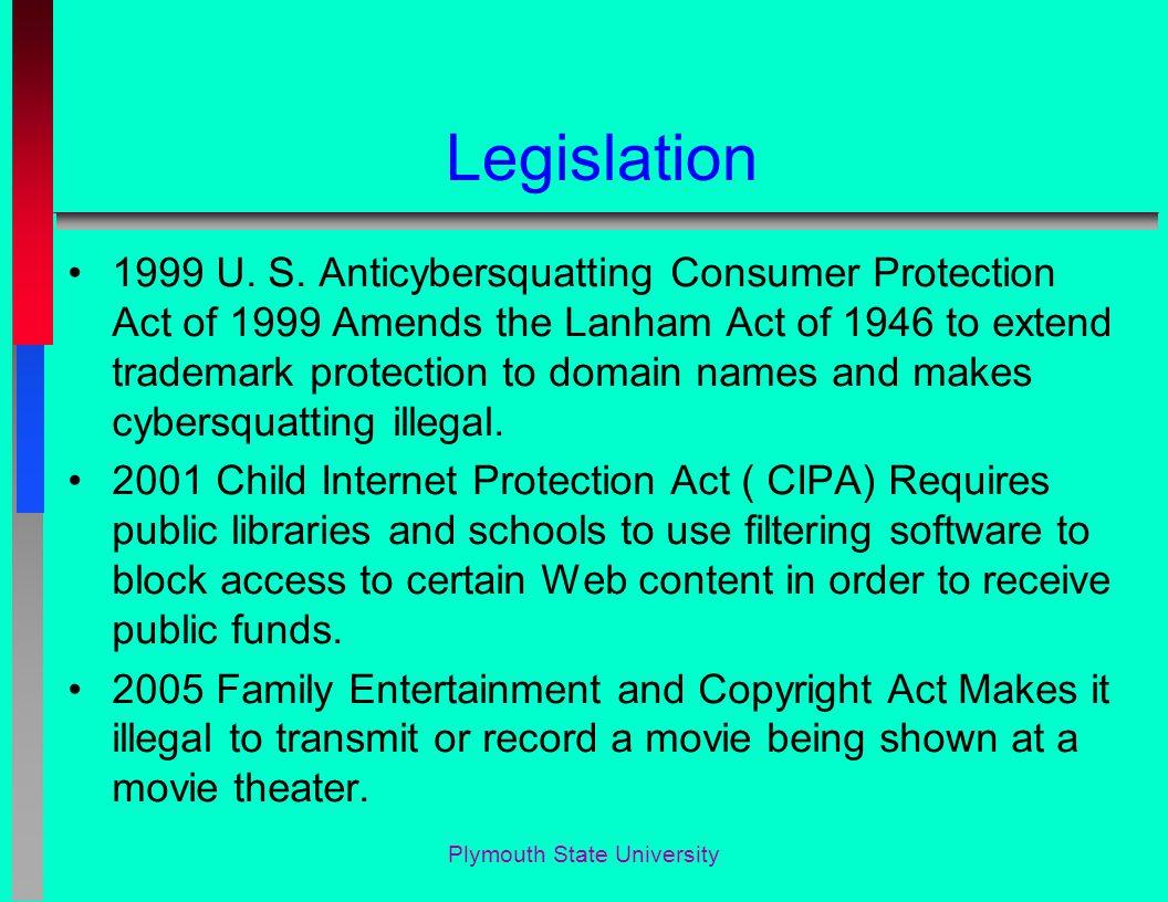 Legislation 1999 U. S.