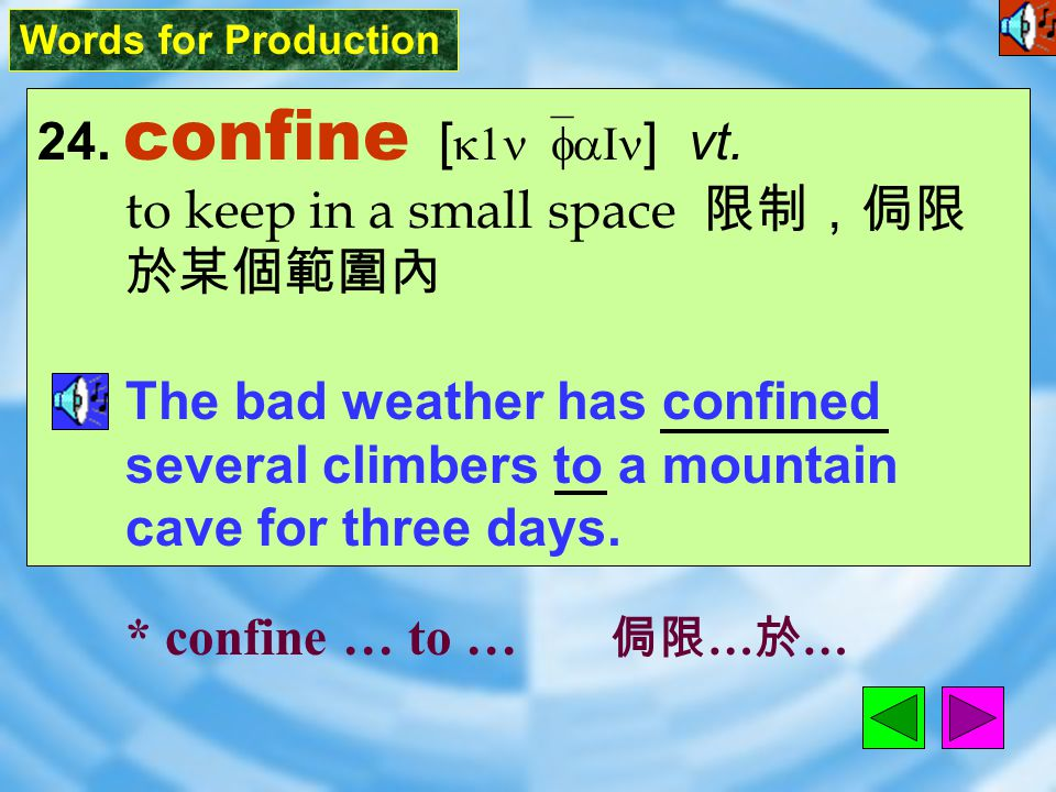 Words for Production 23. despite [ dI`spaIt ] prep. in spite of 儘管 Mr. Lee went to work despite the fact that the doctor had told him to rest. * despi