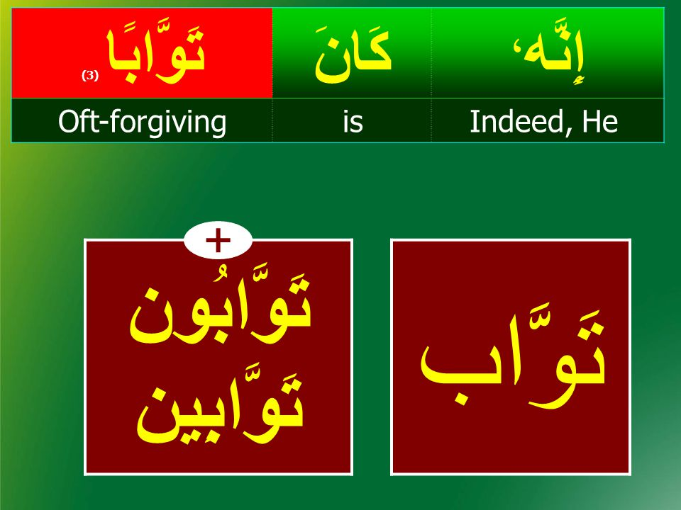 إِنَّه ، كَانَتَوَّابًا ( 3) Indeed, HeisOft-forgiving تَوَّابُون تَوَّابِين تَوَّاب +