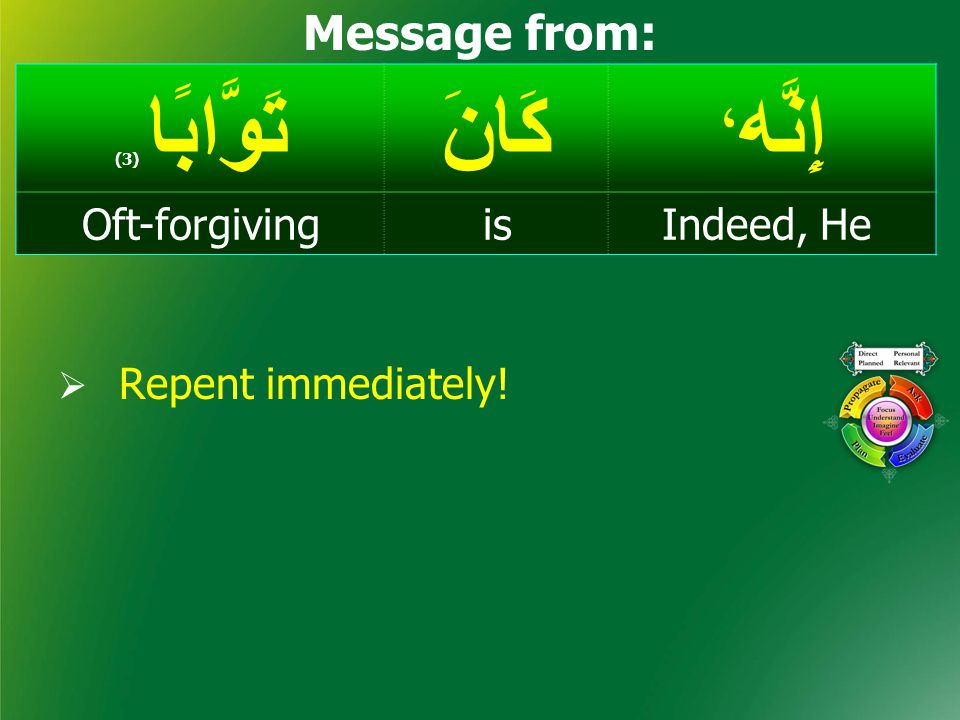 إِنَّه ، كَانَتَوَّابًا ( 3) Indeed, HeisOft-forgiving Message from:  Repent immediately!