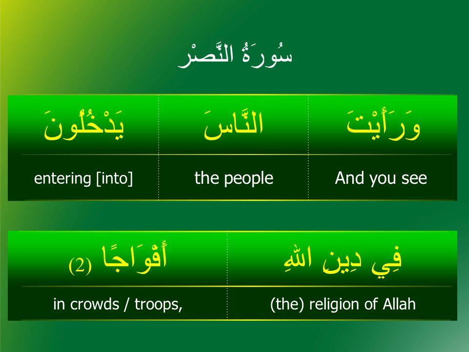 سُورَۃُ النَّصْر وَرَأَيْتَالنَّاسَيَدْخُلُونَ And you seethe people entering [into] فِي دِينِ اﷲِأَفْوَاجًا ( 2) (the) religion of Allahin crowds / troops,