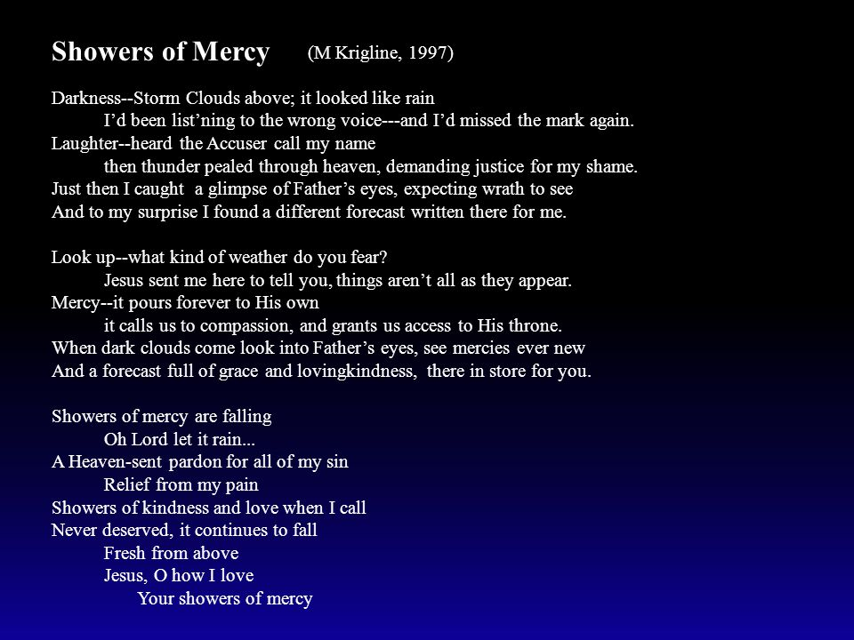 Showers of Mercy (M Krigline, 1997) Darkness--Storm Clouds above; it looked like rain I'd been list'ning to the wrong voice---and I'd missed the mark again.