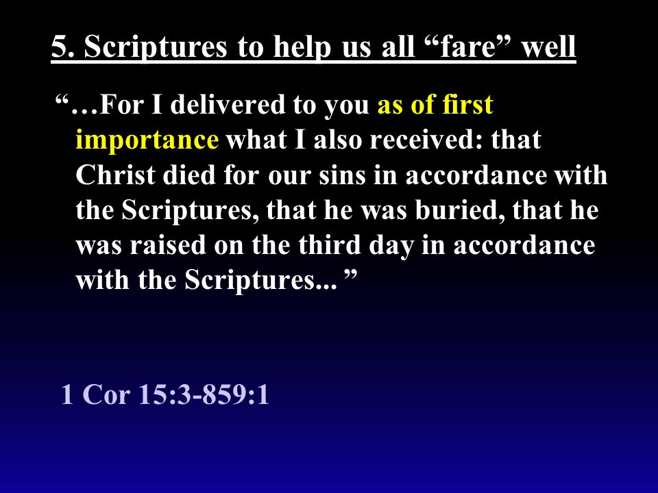 """""""…For I delivered to you as of first importance what I also received: that Christ died for our sins in accordance with the Scriptures, that he was bur"""