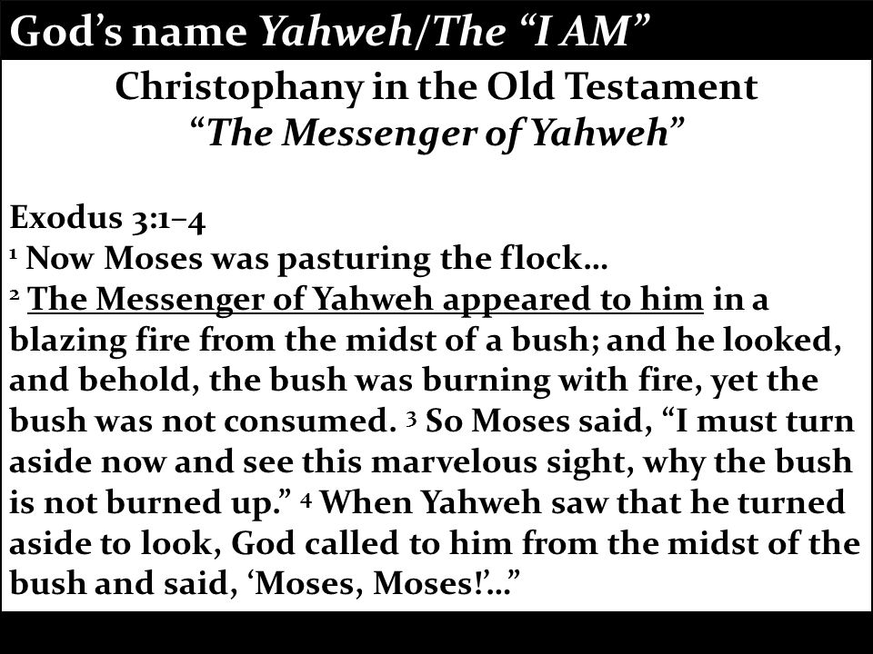 Verb to be who I am the One who always is God's name Yahweh/The I AM communicates: the eternal, unchanging, promise-keeping God God's name Yahweh/The I AM communicates: the eternal, unchanging, promise-keeping God Christophany in the Old Testament The Messenger of Yahweh Exodus 3:1–4 1 Now Moses was pasturing the flock… 2 The Messenger of Yahweh appeared to him in a blazing fire from the midst of a bush; and he looked, and behold, the bush was burning with fire, yet the bush was not consumed.