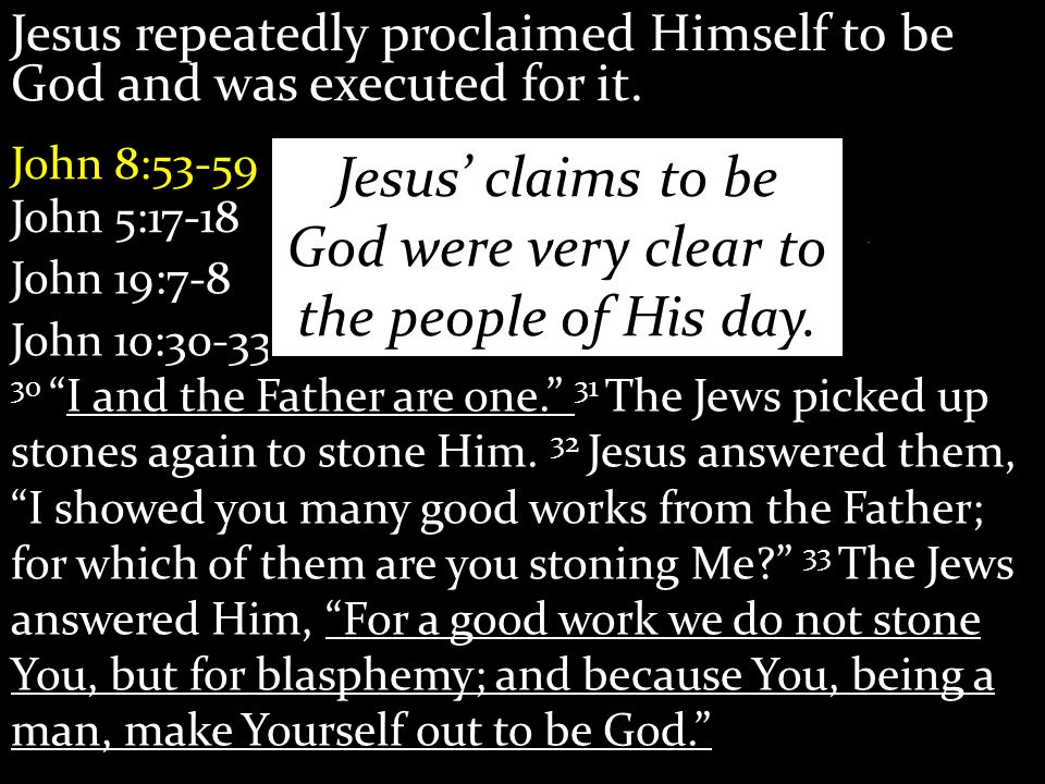 Jesus repeatedly proclaimed Himself to be God and was executed for it.