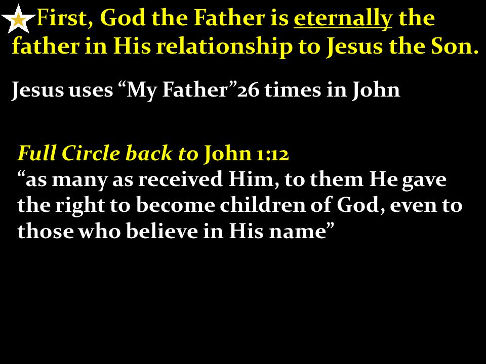 F irst, God the Father is eternally the father in His relationship to Jesus the Son.