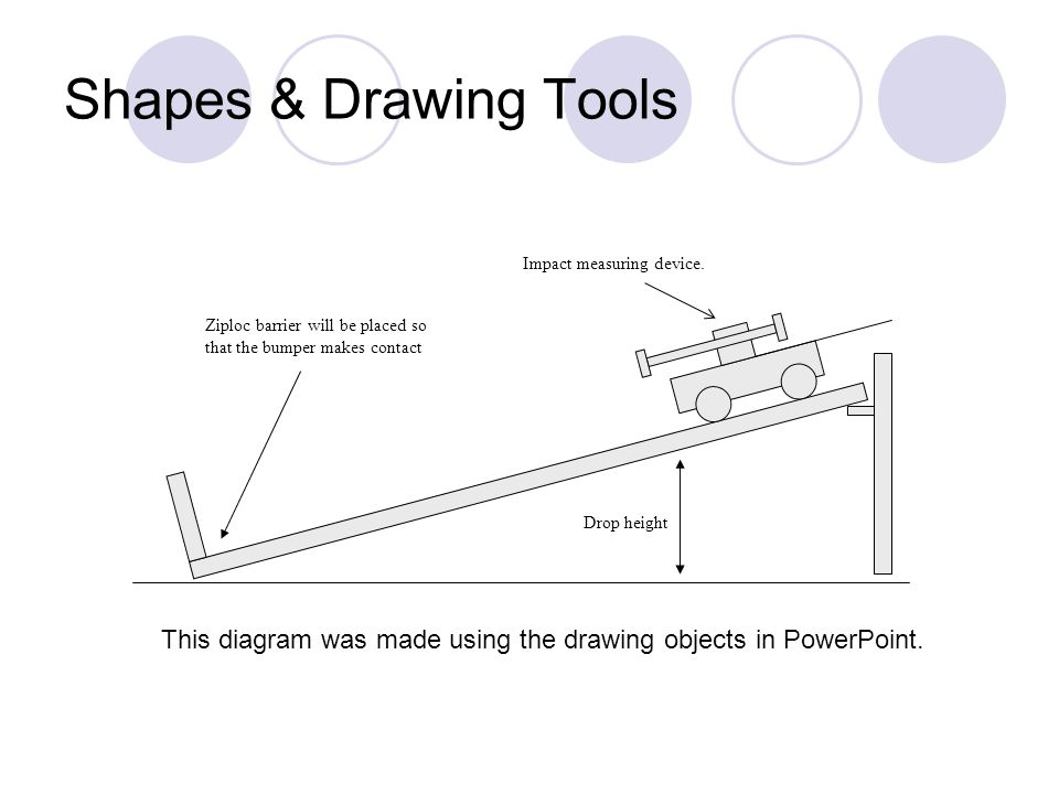 Shapes & Drawing Tools Ziploc barrier will be placed so that the bumper makes contact Drop height Impact measuring device.