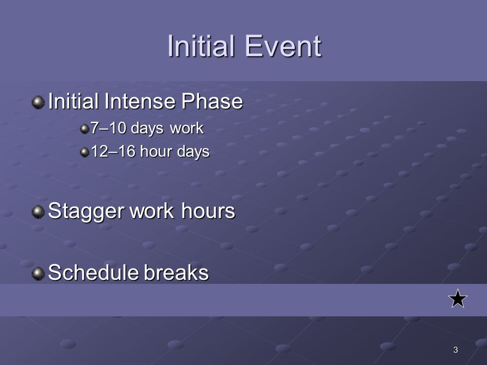 3 Initial Event Initial Intense Phase 7–10 days work 12–16 hour days Stagger work hours Schedule breaks
