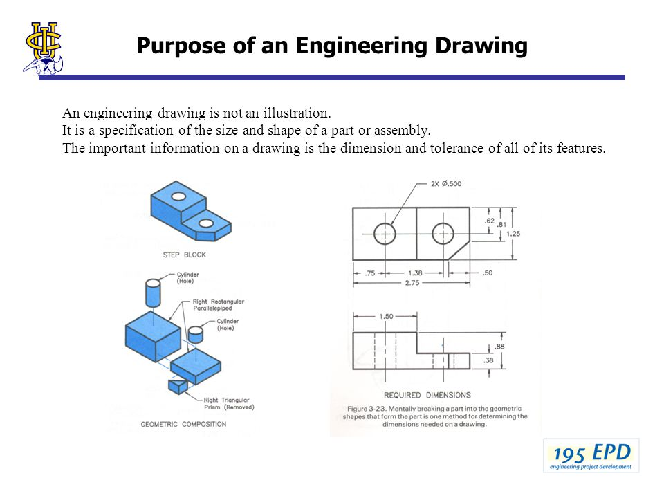 Purpose of an Engineering Drawing An engineering drawing is not an illustration. It is a specification of the size and shape of a part or assembly. Th