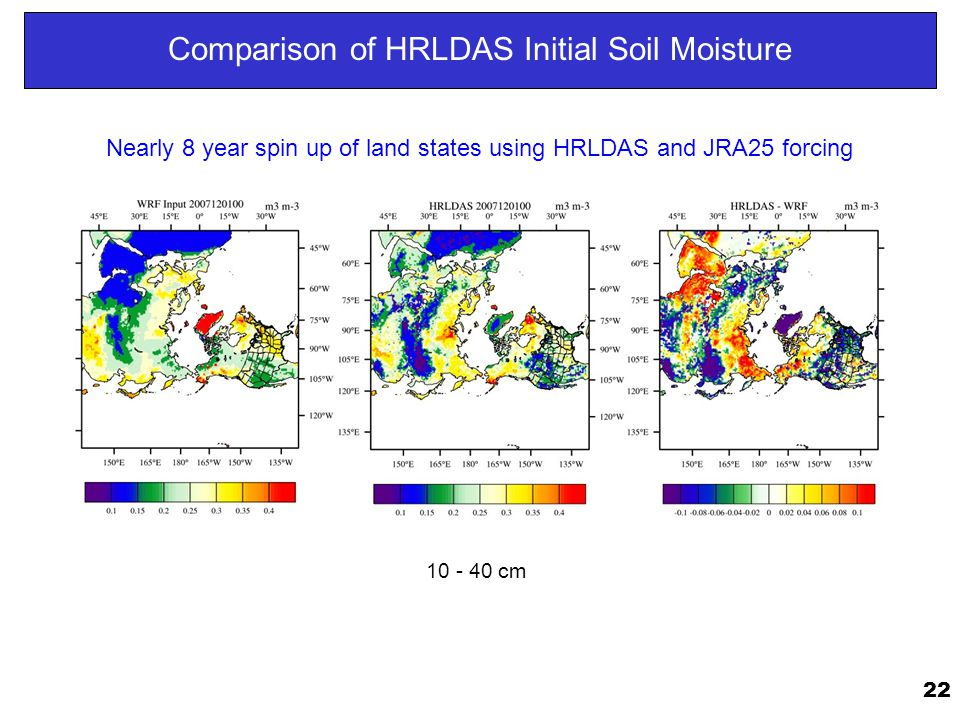 22 Comparison of HRLDAS Initial Soil Moisture 10 - 40 cm Nearly 8 year spin up of land states using HRLDAS and JRA25 forcing