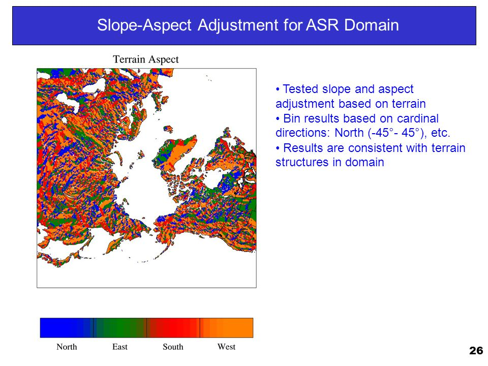26 Slope-Aspect Adjustment for ASR Domain Tested slope and aspect adjustment based on terrain Bin results based on cardinal directions: North (-45°- 45°), etc.