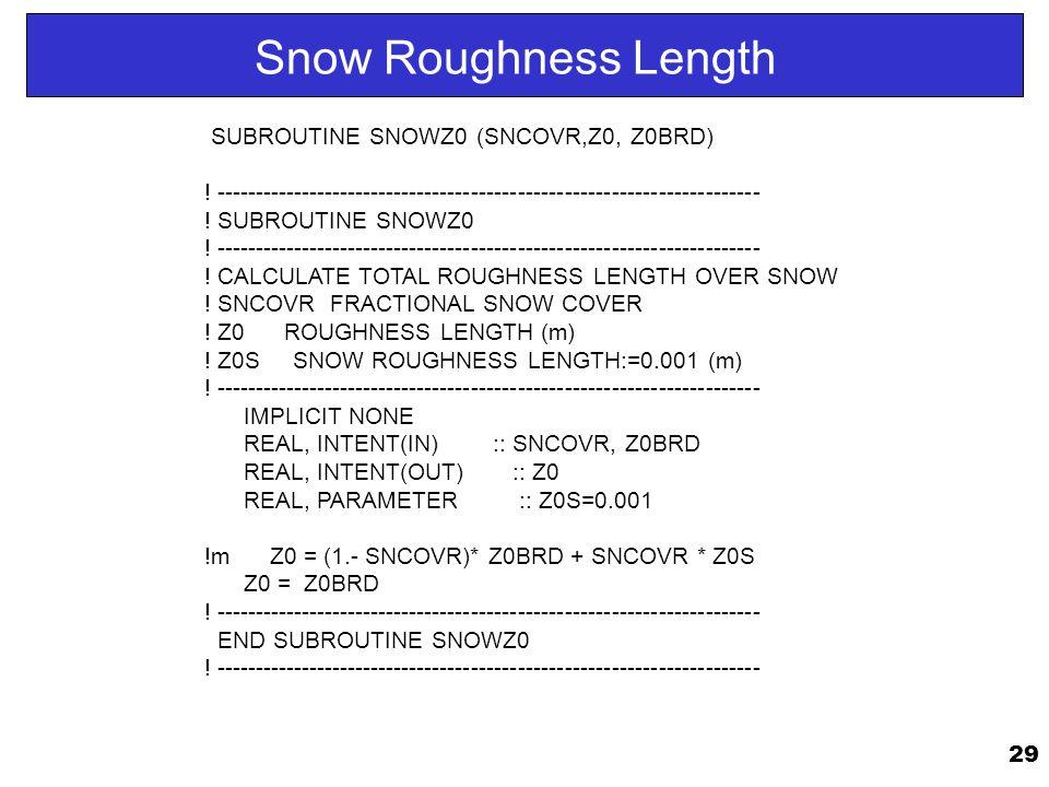 29 Snow Roughness Length SUBROUTINE SNOWZ0 (SNCOVR,Z0, Z0BRD) .