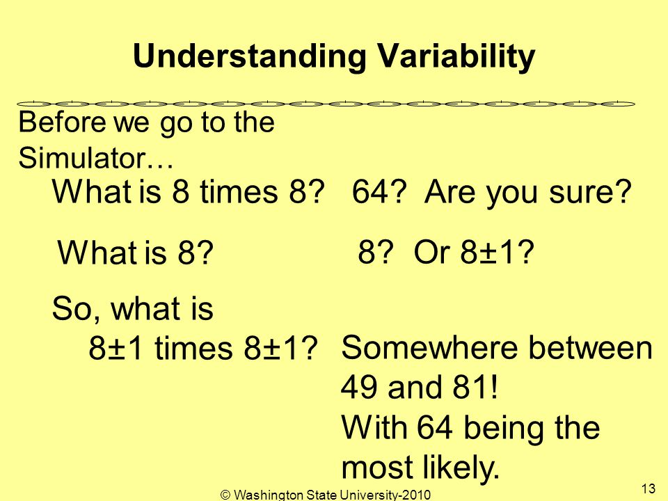 Understanding Variability What is 8 times 8. 8. Or 8±1 What is 8.