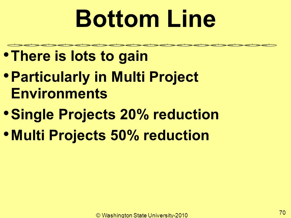Bottom Line There is lots to gain Particularly in Multi Project Environments Single Projects 20% reduction Multi Projects 50% reduction 70 © Washington State University-2010
