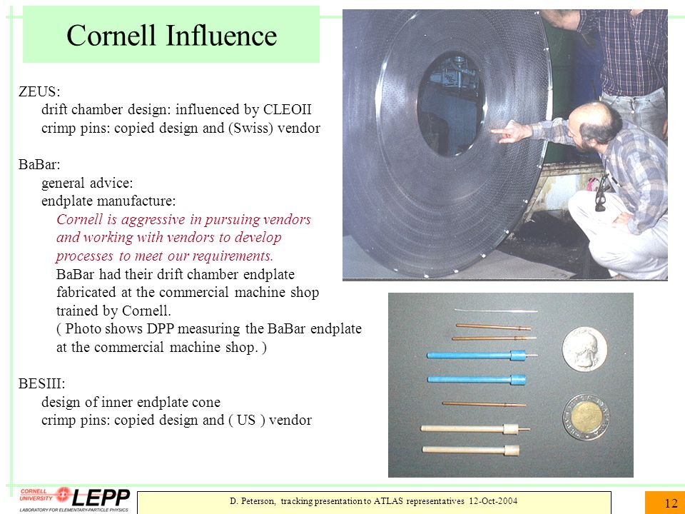 D. Peterson, tracking presentation to ATLAS representatives 12-Oct-2004 12 Cornell Influence ZEUS: drift chamber design: influenced by CLEOII crimp pi
