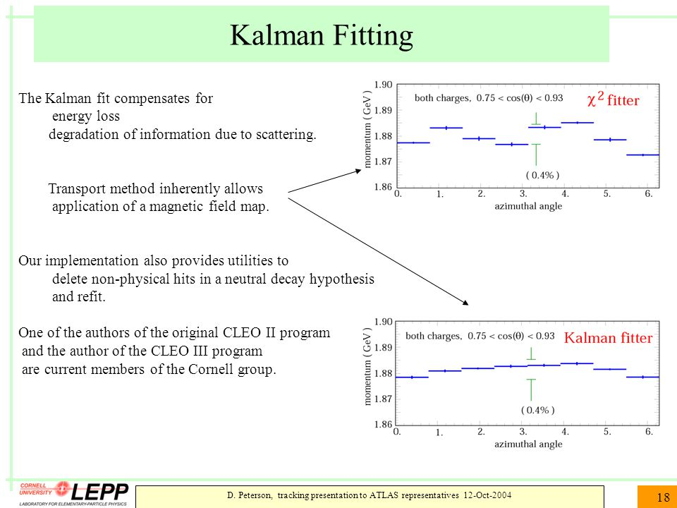 D. Peterson, tracking presentation to ATLAS representatives 12-Oct-2004 18 Kalman Fitting The Kalman fit compensates for energy loss degradation of in