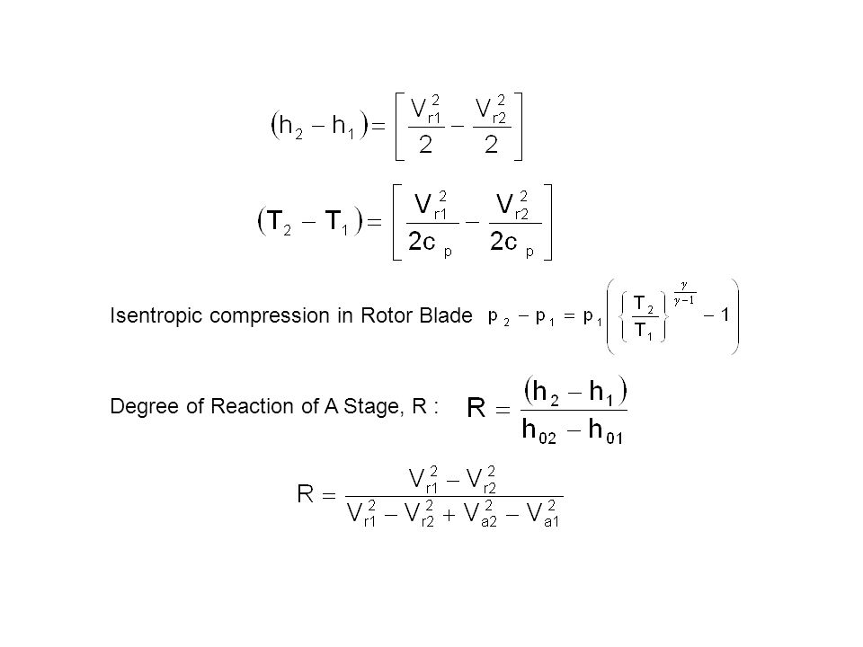Isentropic compression in Rotor Blade Degree of Reaction of A Stage, R :