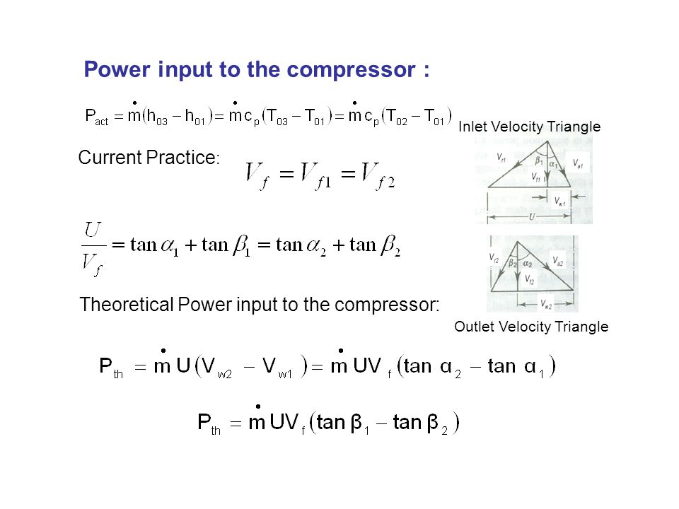 Power input to the compressor : Current Practice : Theoretical Power input to the compressor: Inlet Velocity Triangle Outlet Velocity Triangle