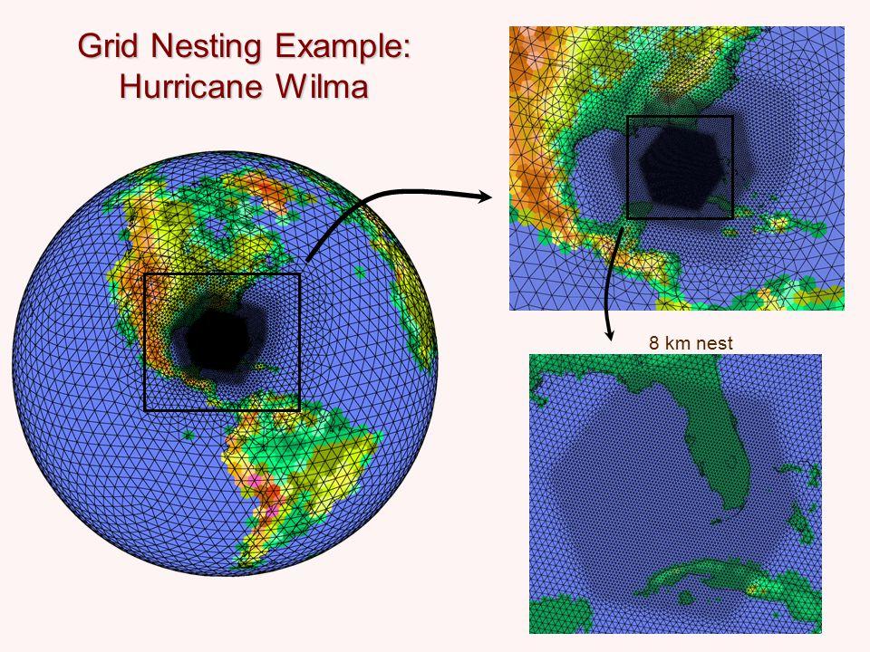 Grid Nesting Example: Hurricane Wilma 8 km nest