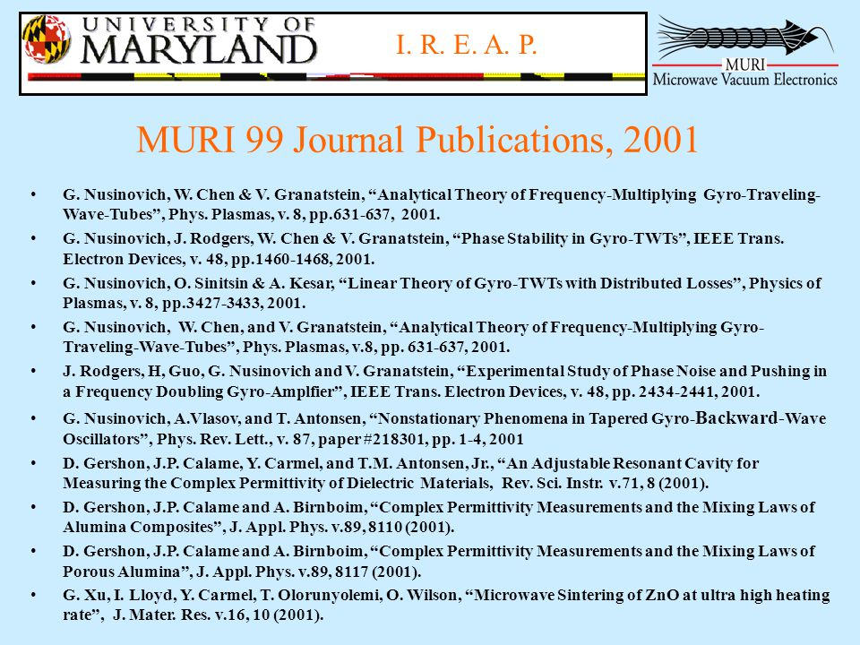 I.R. E. A. P. MURI 99 Journal Publications, 2001 G.