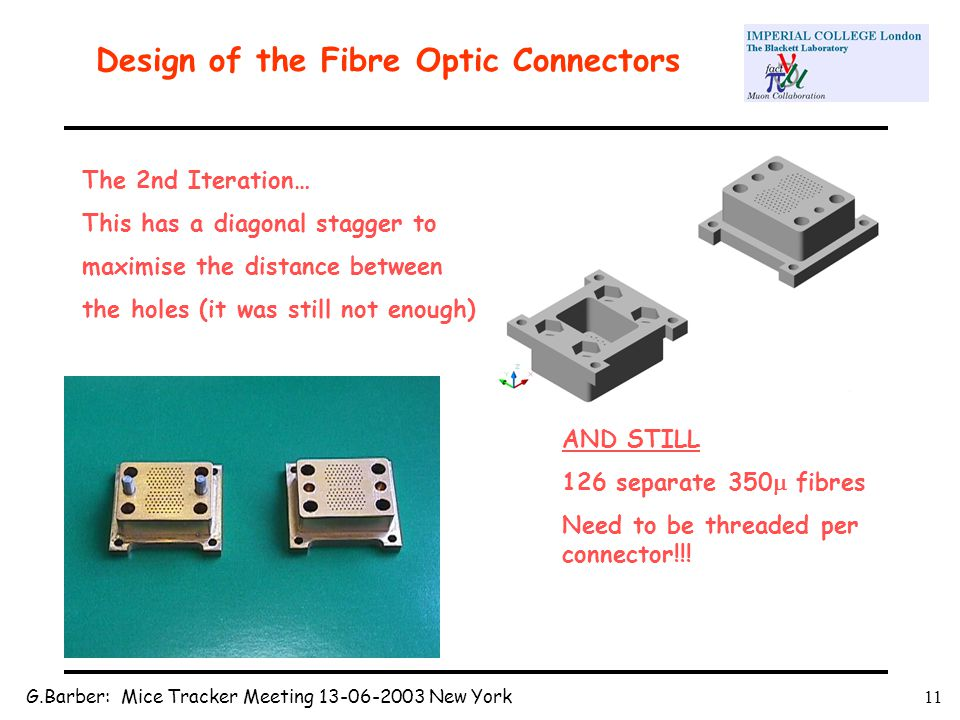 G.Barber: Mice Tracker Meeting 13-06-2003 New York11 Design of the Fibre Optic Connectors The 2nd Iteration… This has a diagonal stagger to maximise the distance between the holes (it was still not enough) AND STILL 126 separate 350  fibres Need to be threaded per connector!!!