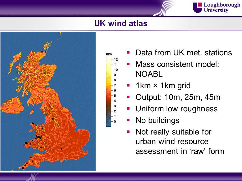 UK wind atlas  Data from UK met.