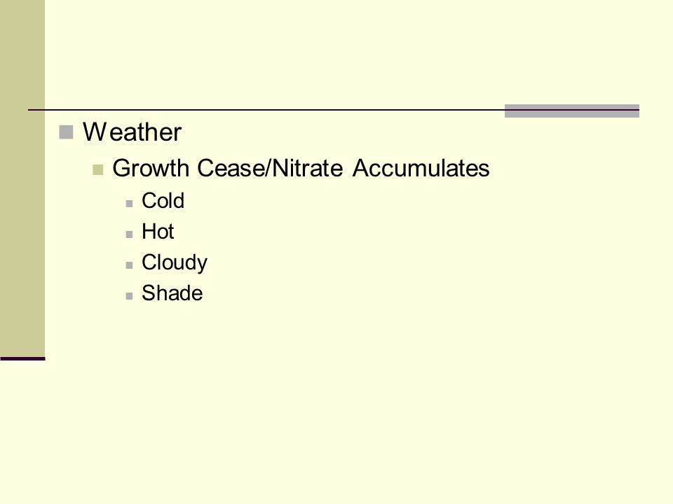 Weather Growth Cease/Nitrate Accumulates Cold Hot Cloudy Shade