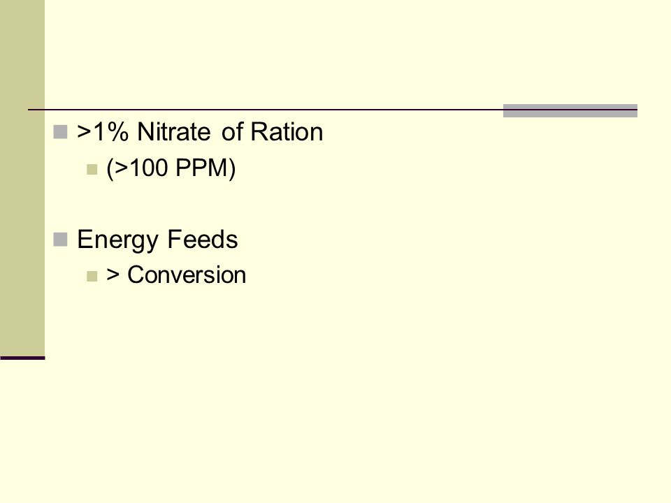 >1% Nitrate of Ration (>100 PPM) Energy Feeds > Conversion