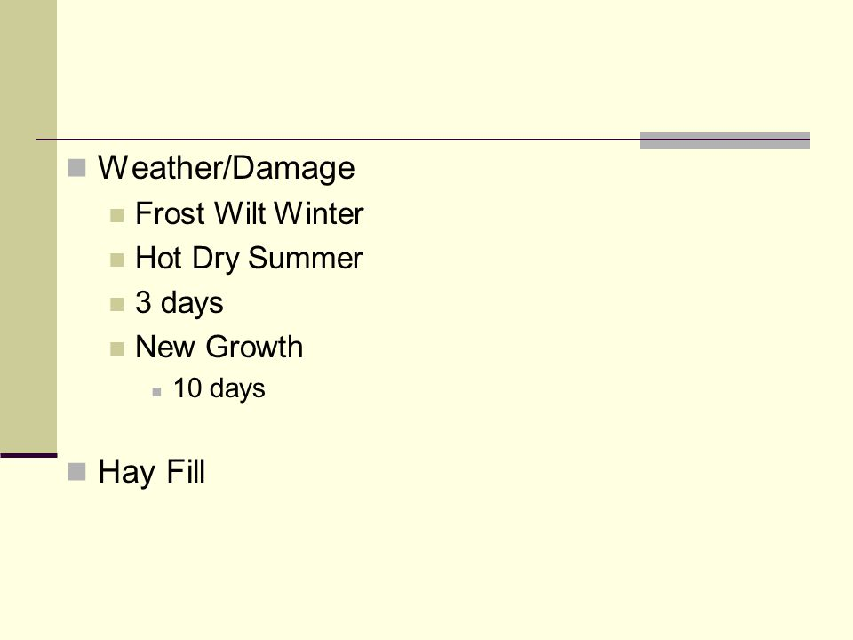 Weather/Damage Frost Wilt Winter Hot Dry Summer 3 days New Growth 10 days Hay Fill