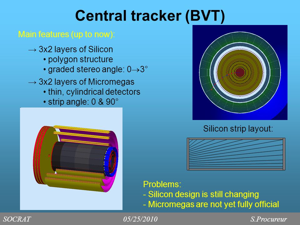 Central tracking - Performance Agreement between Kalman Filter & MOMRES Once a combination of hits has been found, it is sent to the KF for the final fit All physics requirements met, but upper limit for  Track reconstruction requires at least 3 double layers (using 4x2 layers of Silicon) SOCRAT05/25/2010 S.Procureur