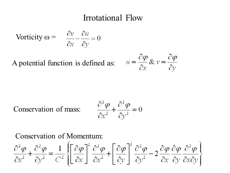 Conservation of momentum: Steady inviscid flow: X-momentum Y-momentum Energy equation: Isentropic flow
