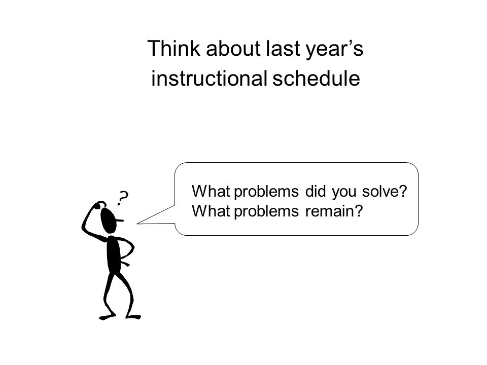 Think about last year's instructional schedule What problems did you solve What problems remain