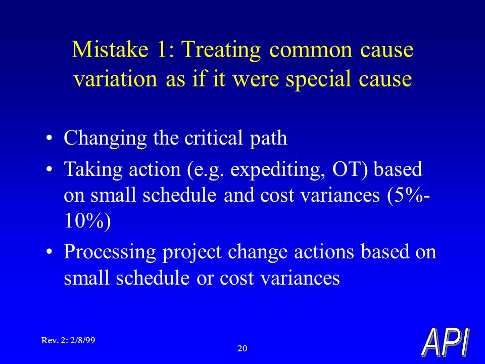 Rev. 2: 2/8/99 20 Mistake 1: Treating common cause variation as if it were special cause Changing the critical path Taking action (e.g. expediting, OT