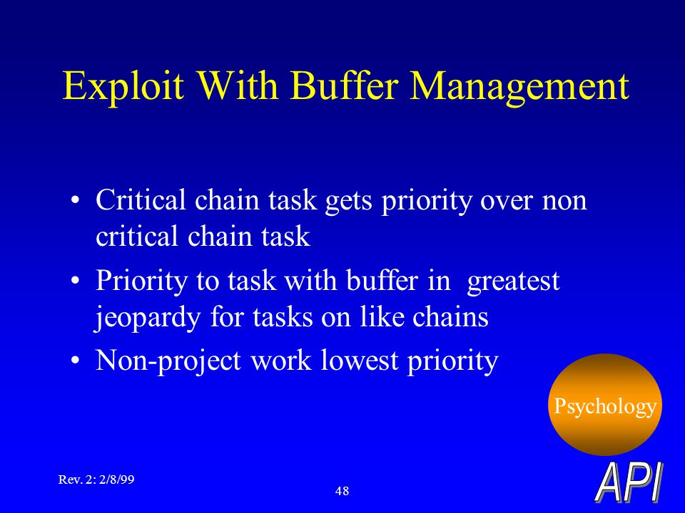 Rev. 2: 2/8/99 48 Critical chain task gets priority over non critical chain task Priority to task with buffer in greatest jeopardy for tasks on like c