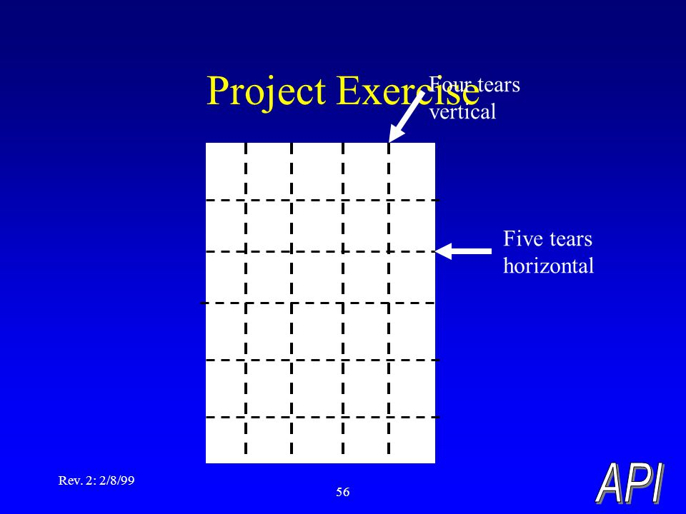 Rev. 2: 2/8/99 56 Project Exercise Four tears vertical Five tears horizontal